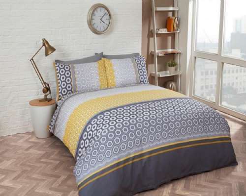 "Ochre ""Barbican"" King Duvet Set, easycare, ""Finest Homeware"" by Rapport"